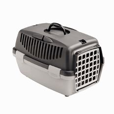 Stefanplast Pet Carrier with Plastic Door Dark Grey