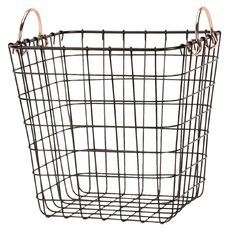 Living & Co Wire Basket with Brass Handles Square Black