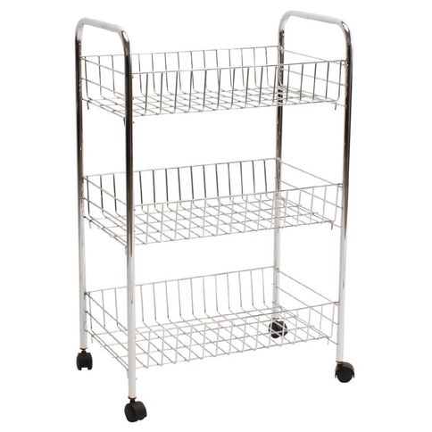 Living & Co Basket Trolley Chrome 3 Tier