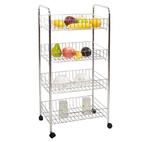 Living & Co Basket Trolley Chrome 4 Tier
