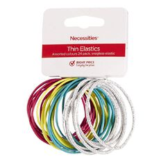 Necessities Brand Hair Thin Snagless Elastics Bright Colours 24 Pack