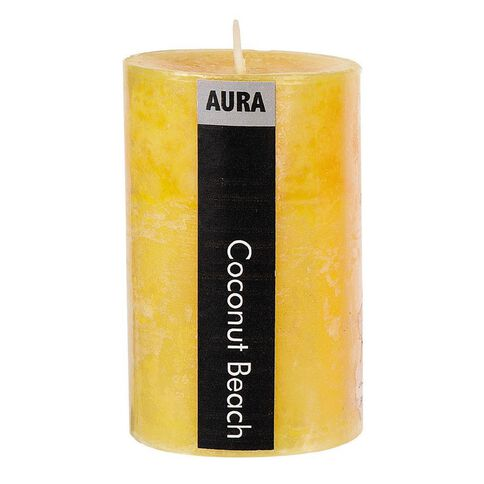 Aura Pillar Candle Coconut Beach 6cm x 10cm Yellow
