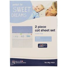 Mother's Choice Road Trip Cot Sheet Set 2 Pack Blue