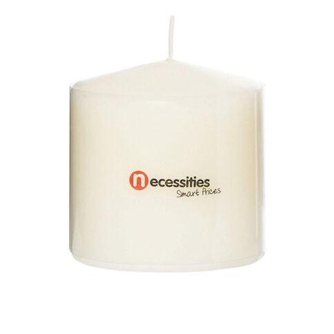 Necessities Brand Pillar Candle Cream  7.5cm x 7.5cm