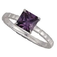 Sterling Silver Purple CZ Square Ring