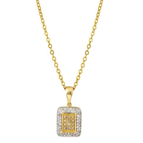 1/2 Carat of Diamonds 9ct Gold Diamond Rectangle Pendant