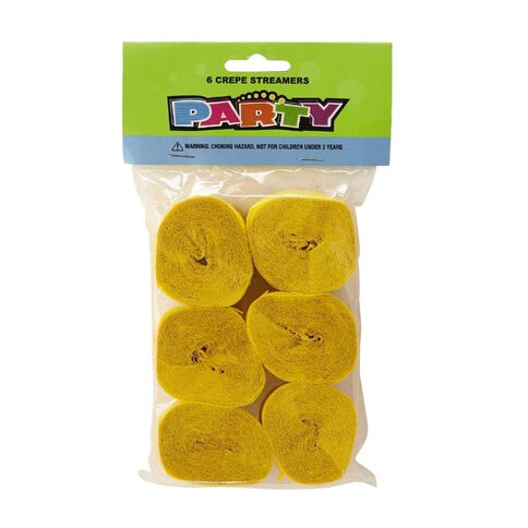 Meteor Streamers Crepe Yellow 6 Pack
