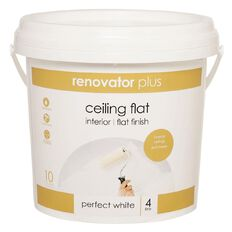 Renovator Plus Ceiling Paint Flat Perfect White 4L