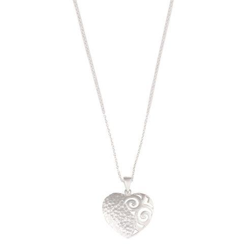 Sterling Silver Open Scroll Heart Pendant