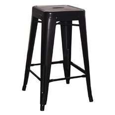 Living & Co Metal Stool Matte Black 66cm