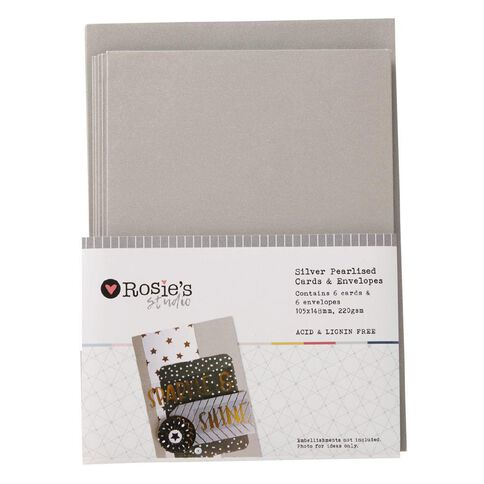 Rosie's Studio Silver Pearlised Metallic Cards and Envelopes 6 Pack