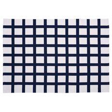 Living & Co Rug Grid Printed Blue/White 120cm x 170cm