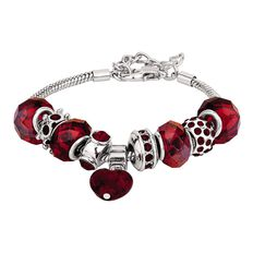 Base Metal Red Bead Bracelet