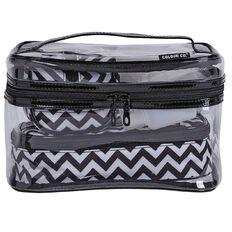 Colour Co. Toiletry Bag Clear Train Case Chevron Black/White 6 Piece