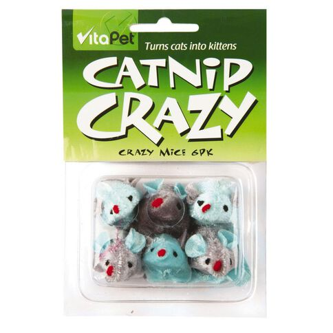 Vitapet Catnip Crazy Mice Cat Toy 6 Pack