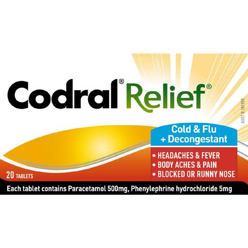 Codral Relief Cold & Flu + Decongestant 20s - LIMIT OF 1 PER CUSTOMER