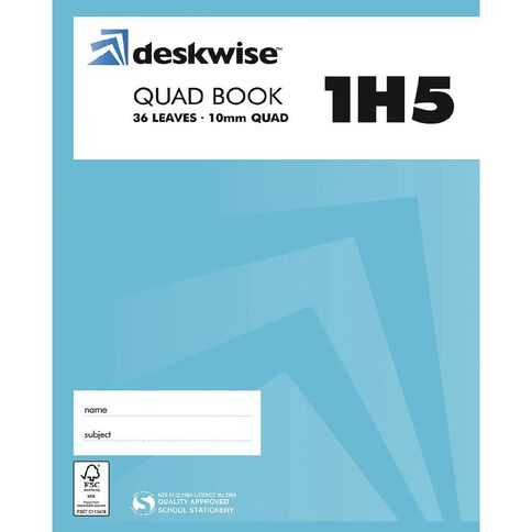 Deskwise Exercise Book 1H5 10mm Quad 36 Leaf