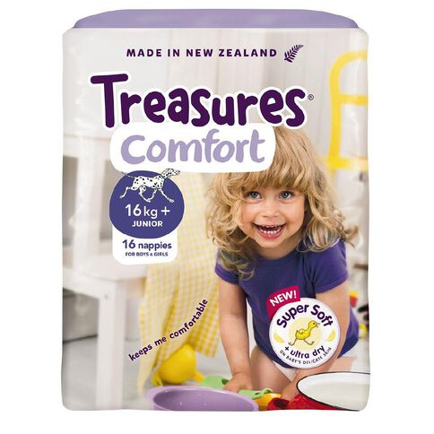 Treasures Junior Nappies 16kg and over 16 Pack
