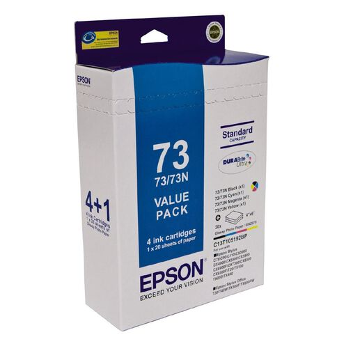 Epson Ink Cartridges & Paper Pack 73N Black & Colours