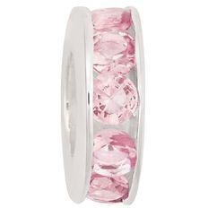 Ane Si Dora Sterling Silver Light Pink CZ Channel Charm