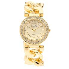 Eternity Women Chain Bracelet Watch Gold