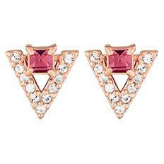 Sterling Silver Crystal Triangle Drop Earrings