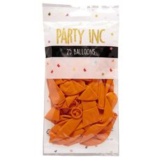 Party Inc Balloons Solid Colour Orange 25cm 25 Pack