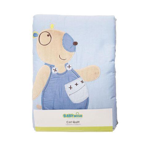 Babywise Cot Quilt Bear Blue