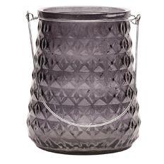 Living & Co Lantern Geo Glass Smoke 16.5cm x 20 cm