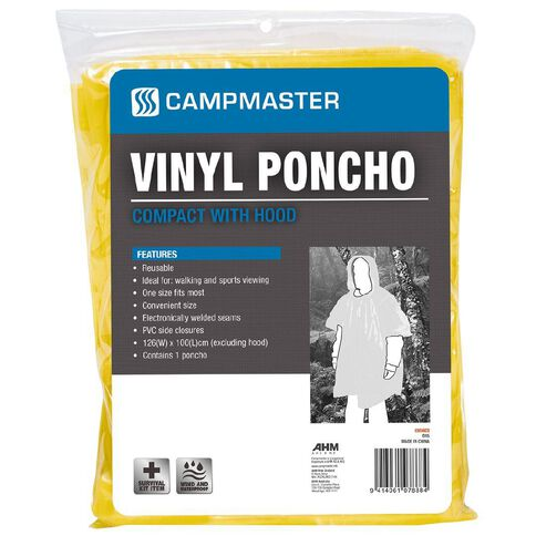 Campmaster Accessories Vinyl Hooded Poncho One Size 126cm x 100cm