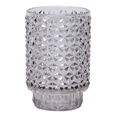 Living & Co Sorrento Metallic Diamond Embossed Glass Candle Holder 13cm