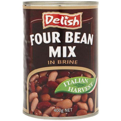 Delish Four Bean Mix in Brine 400g