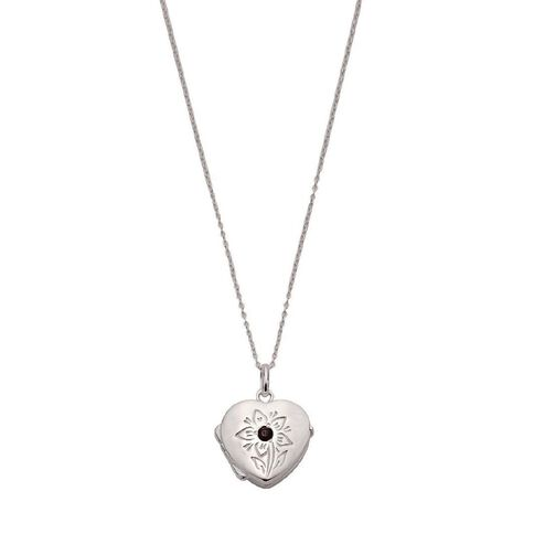 Sterling Silver Heart Locket Pendant with Garnet and Chain