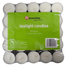 Necessities Brand Tealight Candle Pressed White 100 Pack
