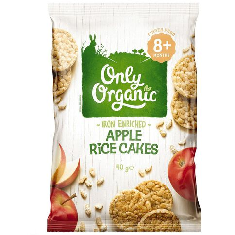 Only Organic Stage 3 Rice Cakes Apple 40g