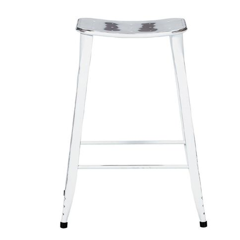 Solano Distressed Paint Stool White 66cm