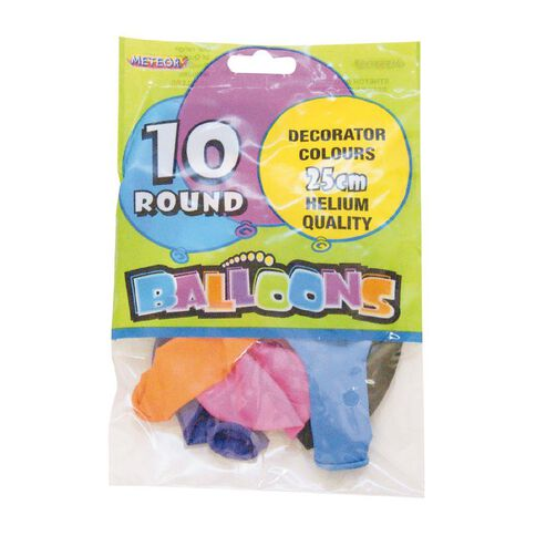 Meteor Balloons Round Assortment of Colours 25cm 10 Pack