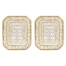 1/2 Carat of Diamonds 9ct Gold Rectangle Earrings
