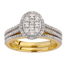 1/4 Carat of Diamonds 9ct Gold Diamond Oval Bridal Set Ring