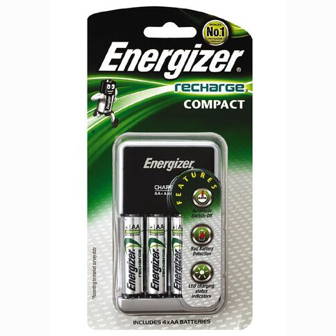 Energizer Compact Charger with 4 Batteries