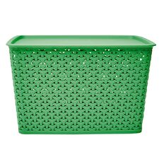 Living & Co Kids Rattan Storage Tub Green 18L