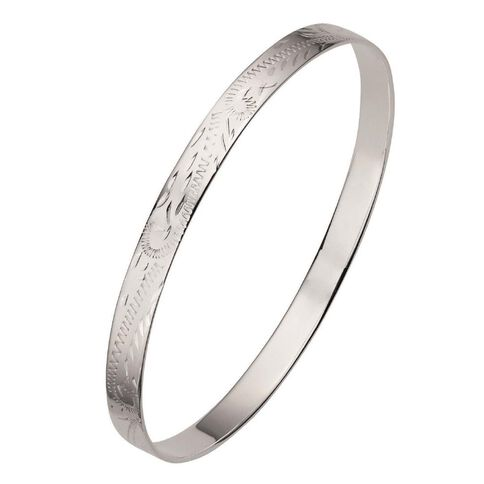 Solid Sterling Silver Hand Engraved Bangle 8mm