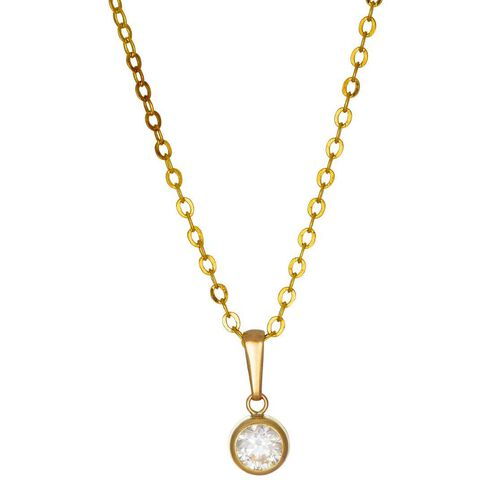 9ct Gold CZ Round Rubover Pendant 5mm