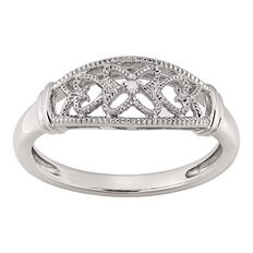 Sterling Silver Diamond Sweet Ring