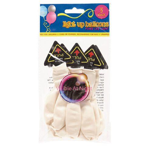Light up Balloons LED White 5 Pack