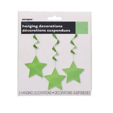 Unique Hanging Star Swirls Lime 3 Pack