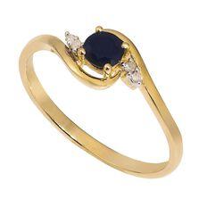 9ct Gold Diamond Sapphire Twist Ring