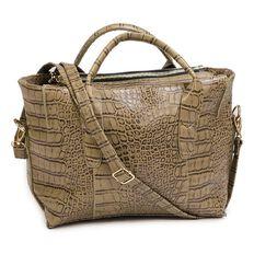 Amber Hill Alliga Tote Handbag Khaki Limited Edition