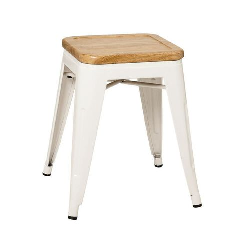 Reside Metal Stool with Wood Top 45cm White