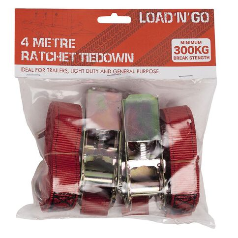 Load 'n Go Ratchet Tiedown 25mm x 4m Twin Pack